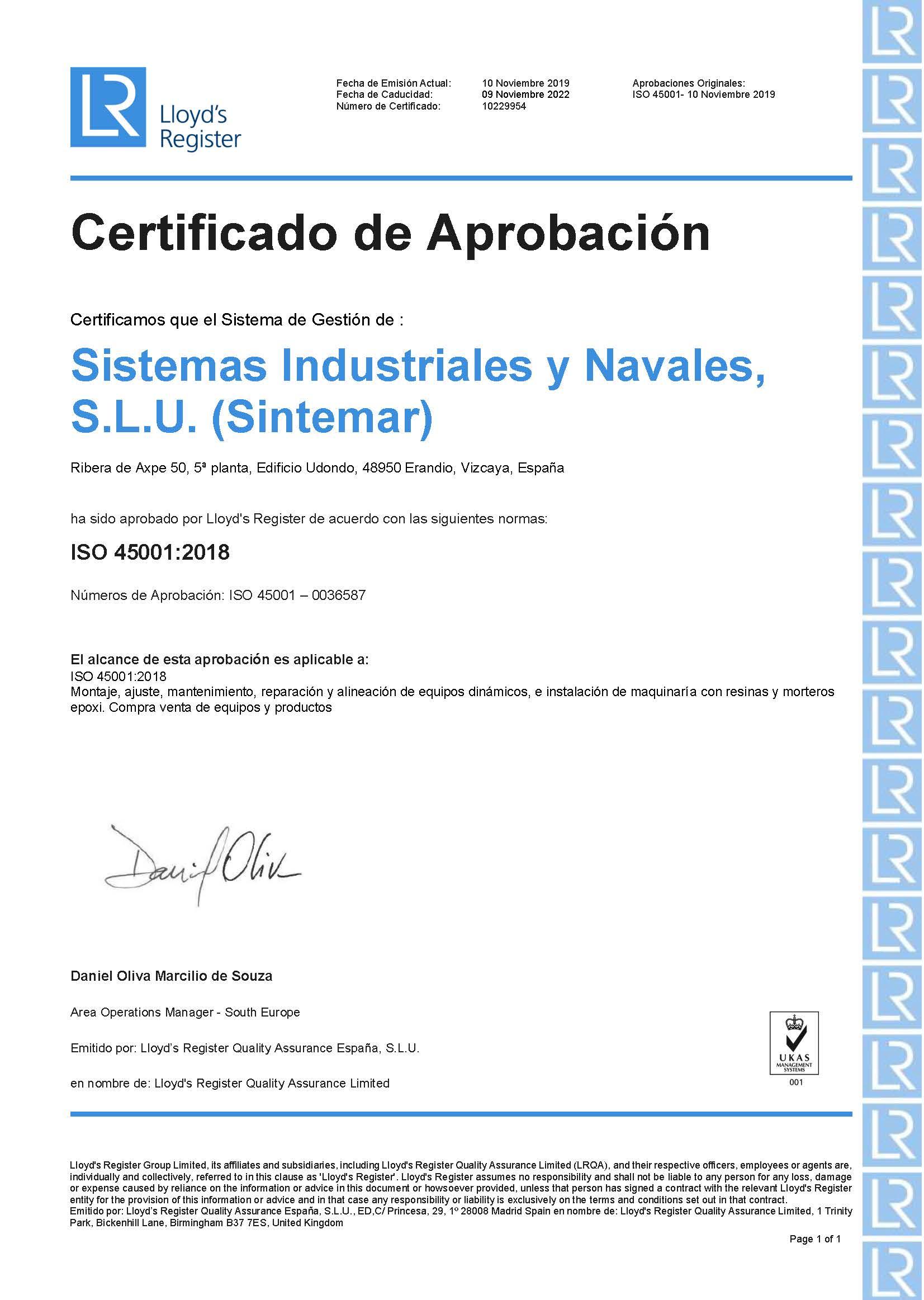 Certificado de aprobación ISO 45001:2018 (Gestión de salud y seguridad laboral)