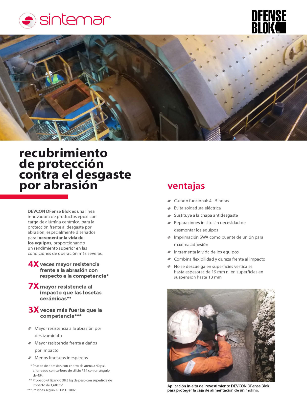 SINTEMAR - Recubrimiento de protección contra el desgaste por abrasión DFENSE BLOK