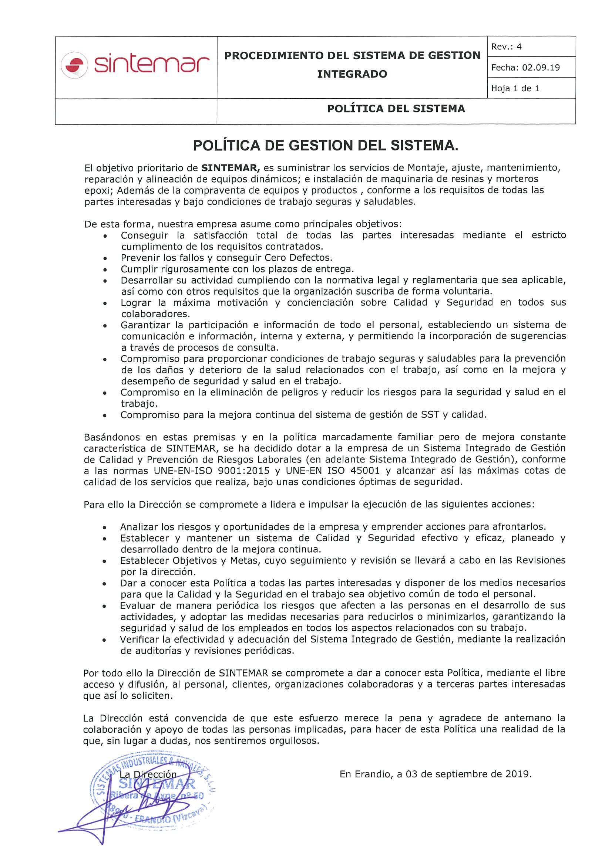Política de Gestión del Sistema
