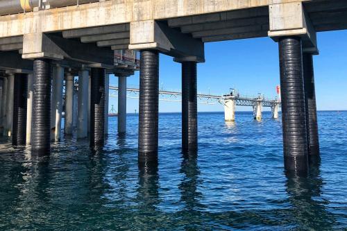 Estado final de la protección Tidal Wrap en plataforma Offshore