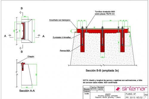 Diseño del grouting de la placa de montaje de una bomba vertical