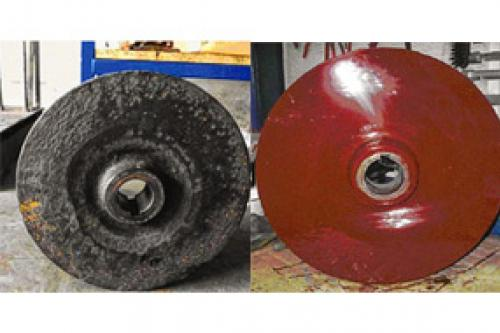 Reconstrucción de impulsor con DEVCON Pasta Titanio y Cerámico (antes y después)