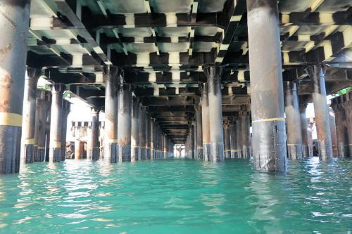 Muelle con TidalWrap sistema de protección de pilotes marinos